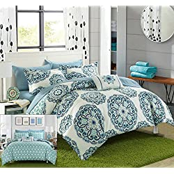 Chic Home Barcelona 8 Piece Reversible Comforter Set Microfiber Large Printed Design with Geometric Patterned Backing Bed in a Bag with Sheet Set and Decorative Pillows Shams, Full/Queen Green