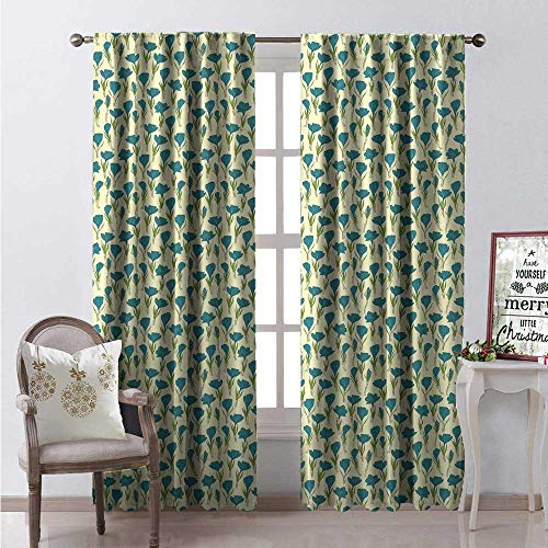 Floral Thermal Insulating Blackout Curtain Hand Drawn Crocus Flowers Spring Season Arrangement Garden Design Blackout Draperies for Bedroom W108 x L84 Petrol Blue Cream and Green