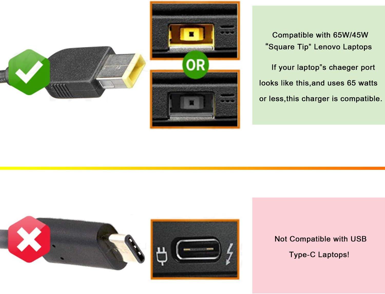 HotTopStar 20V 3.25A 65W AC Adapter Charger for Lenovo IdeaPad Yoga 11 11s 13 Flex 14 15 15D ThinkPad S431 T431s X240 ADLX45NDC3A ADLX45NLC3A Power Supply Cord ThinkPad Edge E440 E450 E550 E560