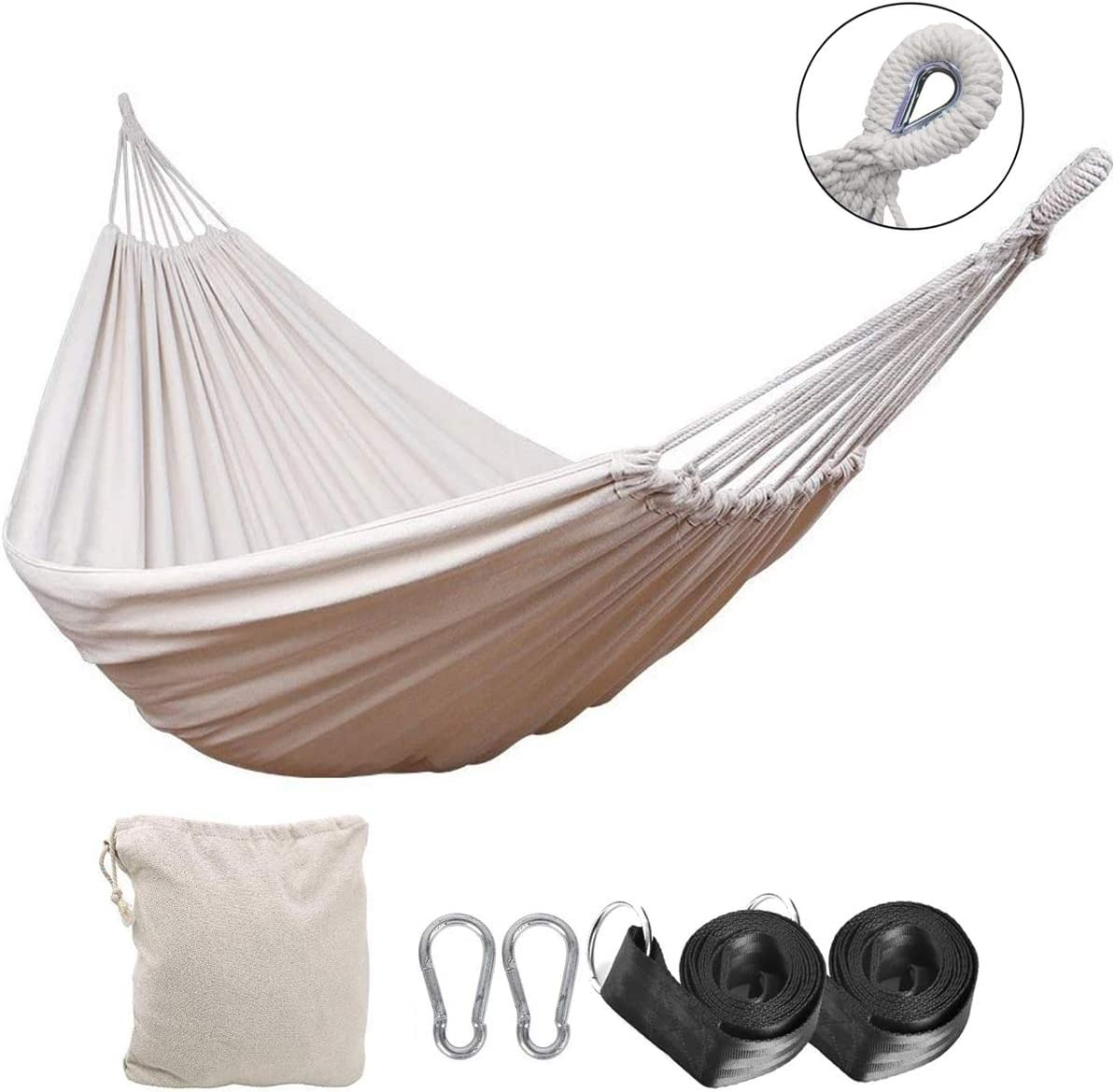 Double Hammock 2 Person Cotton Hammock Patio Porch Garden Portable Lightweight Travel, Outdoor, Indoor, Backpacking, Hiking Survival Beige