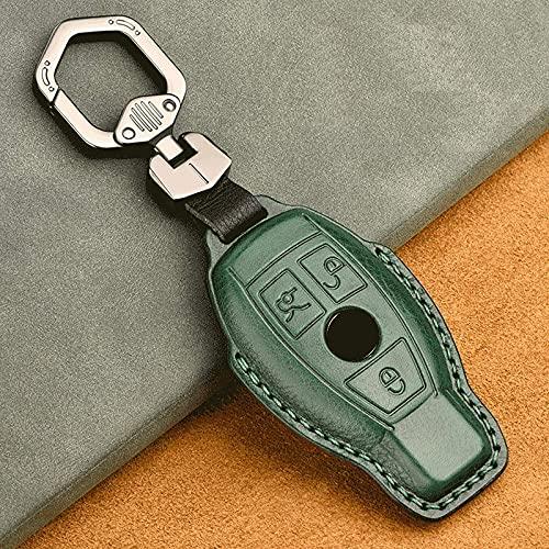 Echt Lederen Autosleutel Case Cover,voor Mercedes Benz W203 W210 W211 W124 W202 W204 W212 Cla Glc Amg, Sleuteltas Blauw
