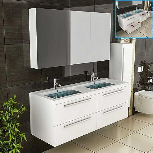 Weiss Badmöbel / Doppelwaschbecken mit Unterschrank ... | {Doppelwaschtisch mit unterschrank und spiegelschrank 63}
