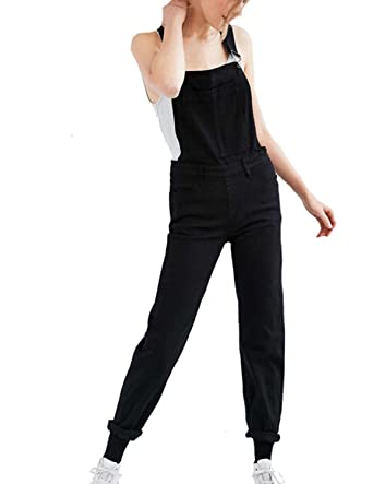 fcf83ae0407 Amazon.com  HaoDuoYi Womens Casual Bib Overall Sleeveless Long Jumpsuits   Clothing