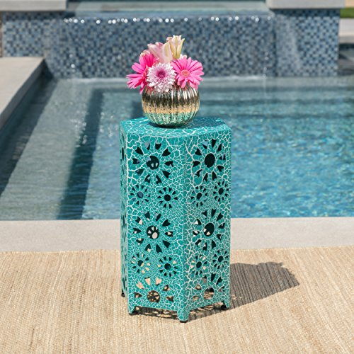 Elliot Outdoor 14 Inch Sunburst Iron Side Table Crackle Teal