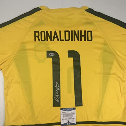 c392d06a9 Autographed Signed Ronaldinho Brazil Yellow World Cup Soccer Futbol Jersey  Beckett BAS COA at Amazon s Sports Collectibles Store