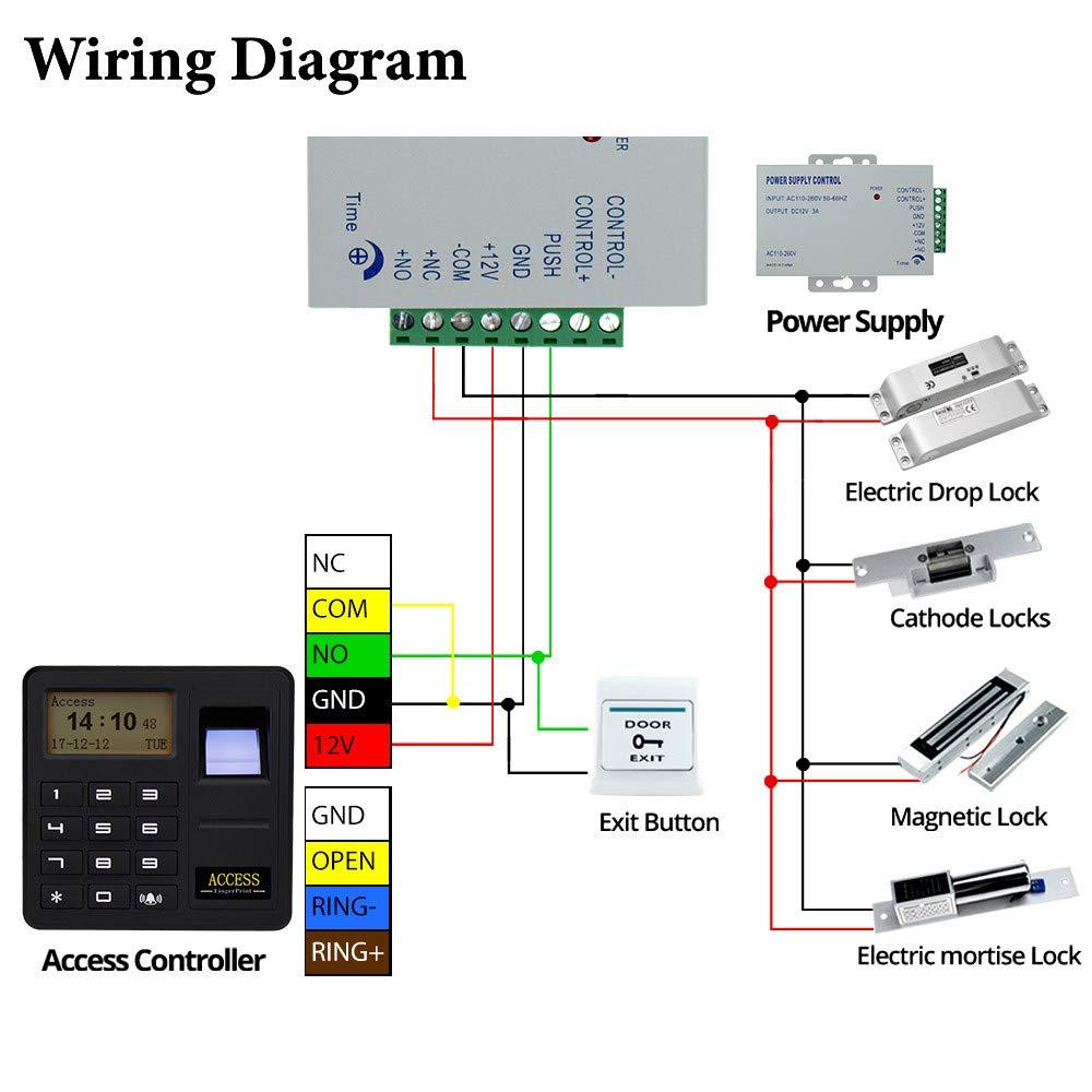 12 V Stromversorgung Elektrische Drop Riegelschloss Kit Set HFeng 125 KHz T/ürzugriffskontrollsystem Biometrische RFID Fingerprint Access Controller