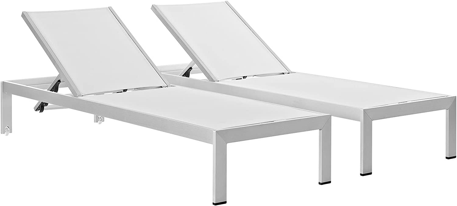 Modway Shore Aluminum Textilene Mesh Outdoor Patio Two Poolside Chaise Lounge Chairs in Silver White