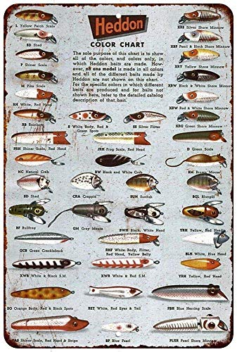 Aluminum Signs Stanley Heddon Fishing Lures Color Chart Vintage Look Reproduction Sign 8 x 12 - Fishing Lure Display Case