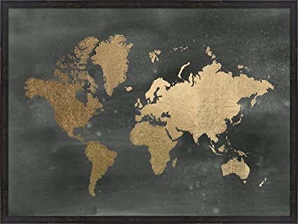 Amazon large gold foil world map on black metallic foil by large gold foil world map on black metallic foil by jennifer goldberger framed art print gumiabroncs Images