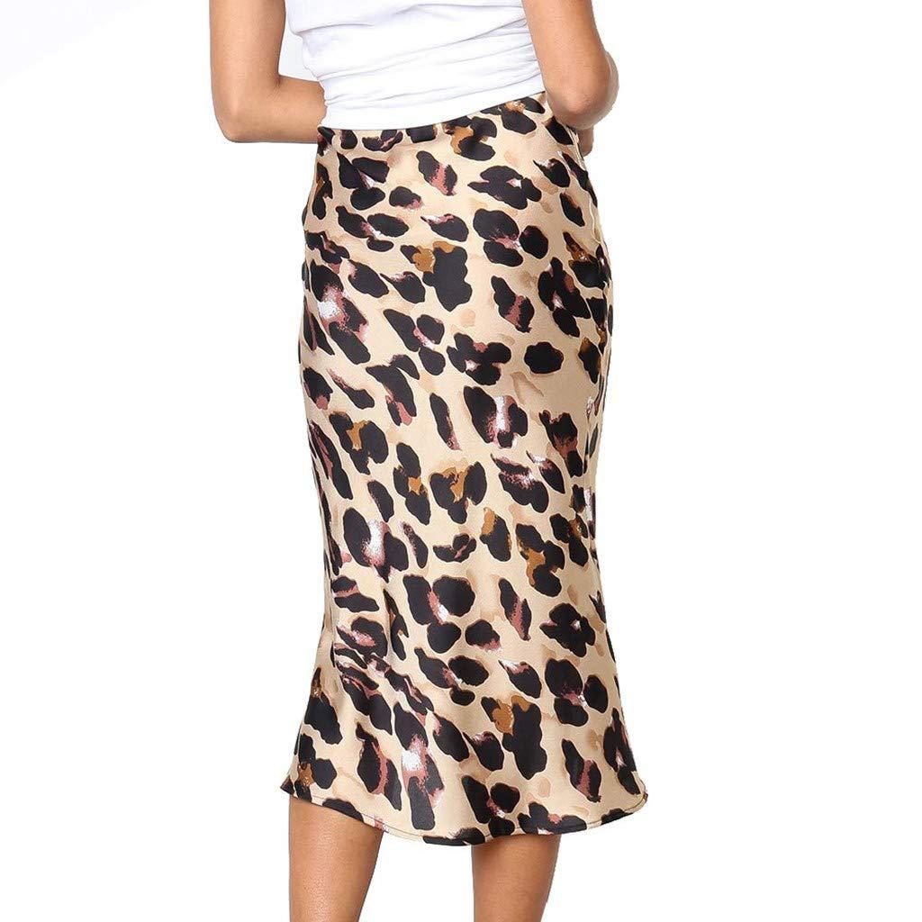 Moginp - Falda para Mujer, Talla Alta, Leopardo, Cola de Pescado ...
