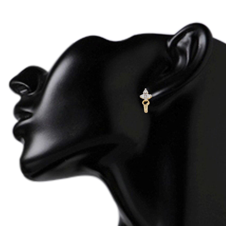 Efulgenz Stud Earrings 14 K Gold Plated Hypoallergenic Cubic Zirconia Huggie Studs Pierced