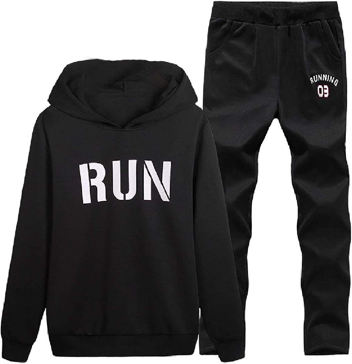 RingBong Mens Printing Hooded Leisure Athletic Runnung Sports Suit Tracksuit