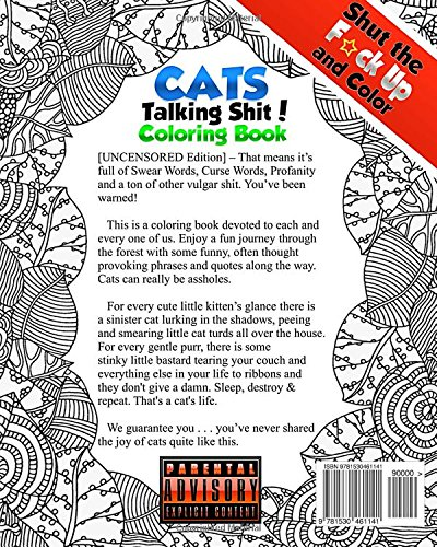 Amazon Shut The Fck Up And Color 3 Cats Talking Shi Adult Coloring Book Of Swear Words Curse Profanity