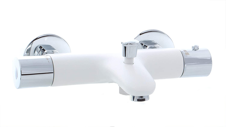 Grü nblatt Robinets thermostatiques Blanc/Chrome bain Robinetterie baignoire Grünblatt