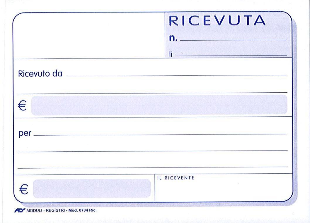 RICEVUTE GENERICHE BLOCCO 50 MODULI DOPPIA COPIA ADS - 30 PEZZI
