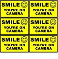 "Outdoor/Indoor (6 Pack) 3.54"" wide X 2.24"" high Home Business SMILE YOU'RE ON CAMERA Yellow Window Door Warning Security Alert Sticker Decals **Back Self Adhesive Vinyl**"