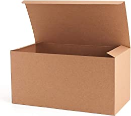 MESHA Recycled Gift Boxes 9x45x45 Inch Brown Paper 10PCS Kraft Favor