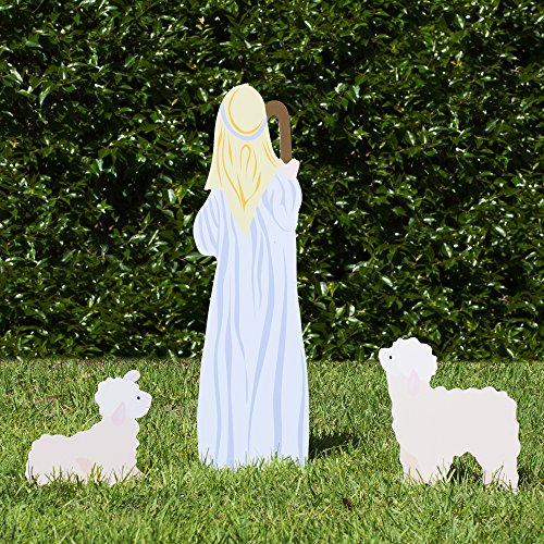 (Outdoor Nativity Store Outdoor Nativity Set Add-on - Shepherd and Sheep (Standard, Color))