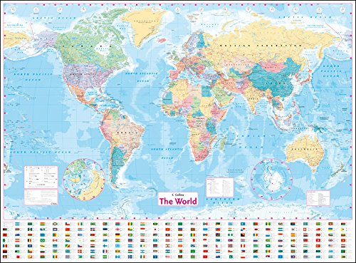 Large world map xxl poster with flags and banners top quality collins world wall laminated map gumiabroncs Images