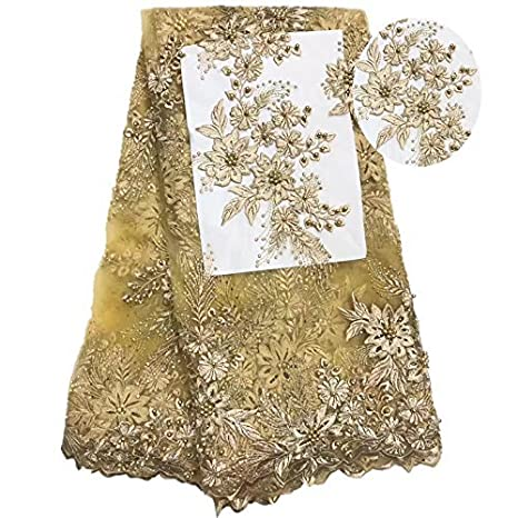 3c627d647dea57 Euphony African 3d Tulle French Net Lace Fabric with Beads and Stones  (Gold, 4.5m): Amazon.in: Electronics