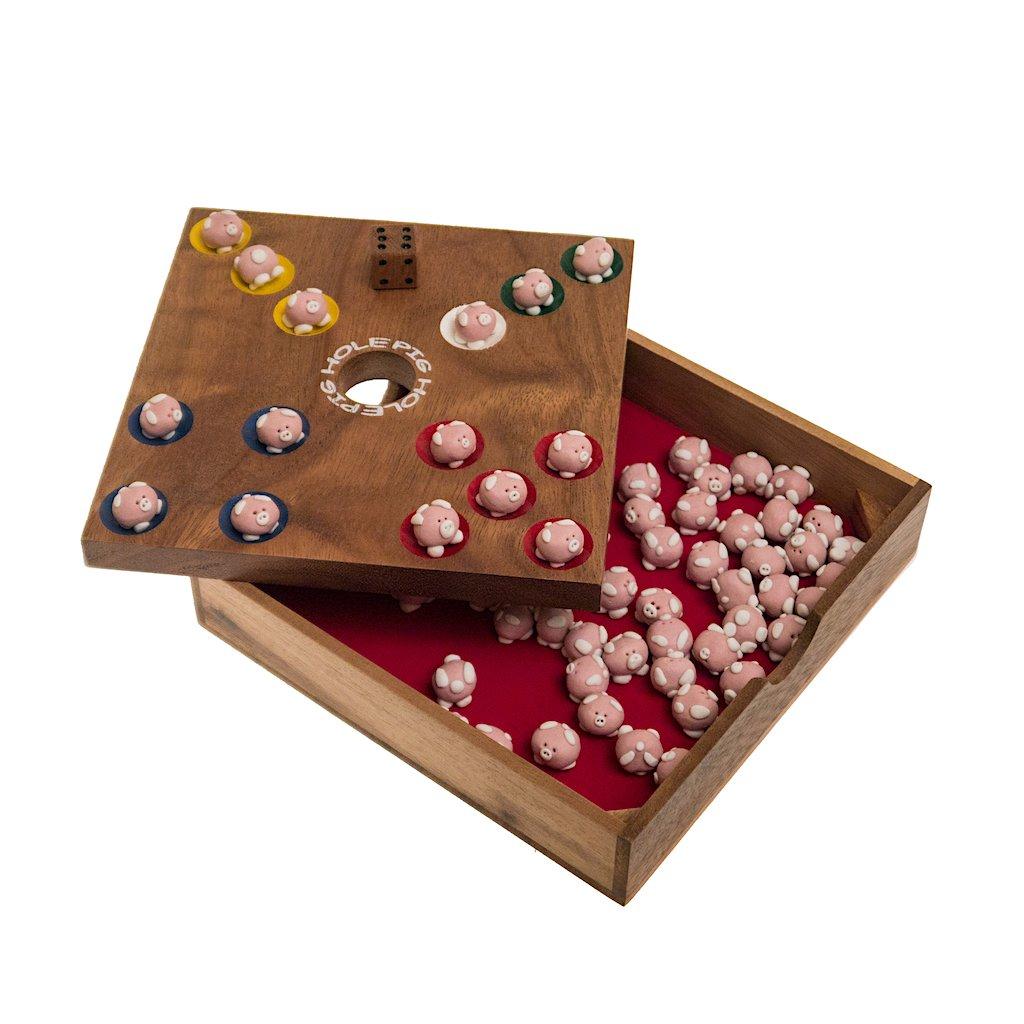 Pig Hole, Schweinchenspiel, Würfelspiel, Glücksspiel, Brettspiel, Gesellschaftsspiel, Holzspiel