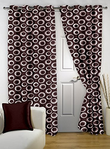 Story@Home Nature Eyelet 2 Pieces Dots Superior Polyester Bedroom Door Curtains, 7 ft, Brown