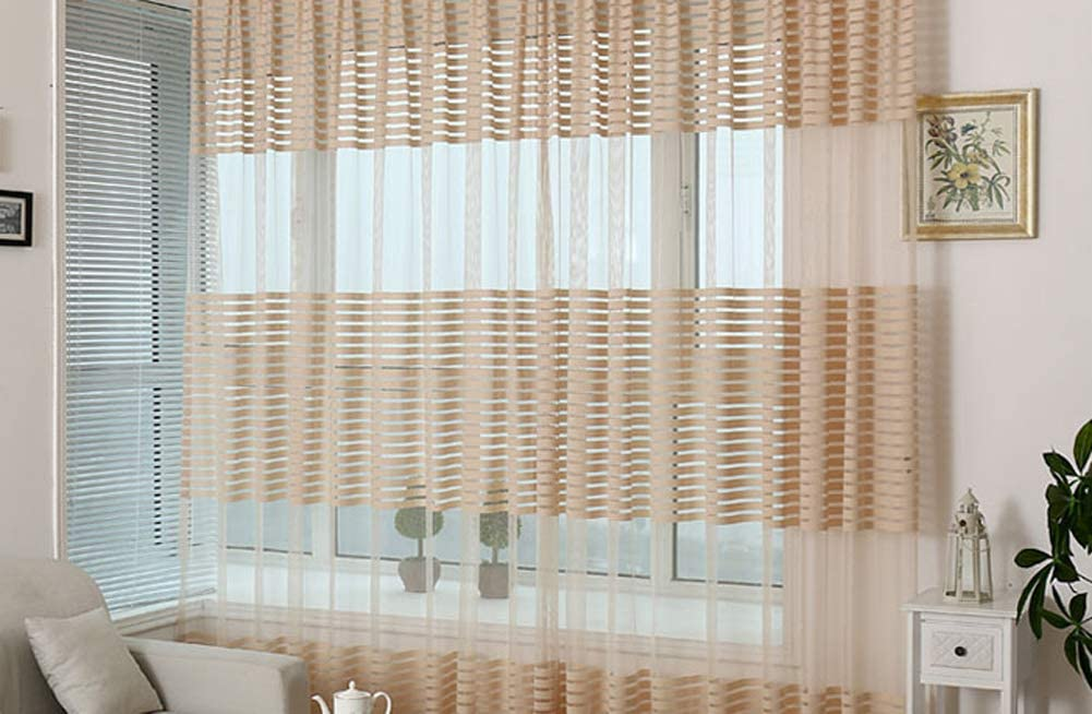 Sheer Curtains Rod Pocket Top Wrap Knitting Striped Design Window Home Decoration Panels for Kids Dining Living Room Bedroom Doorway 2 Panels, W 50 x L 63 inch, Blue