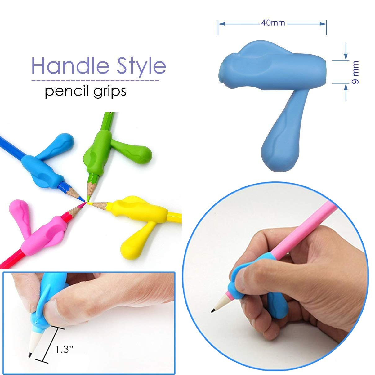 Pencil Writing Grips for Kids Handwriting 20 Pack Pencil Holder Utensils Pen Writing Aid Grip Posture Correction Tool with Comfortable Ergonomic Writing by Bomach (Image #4)