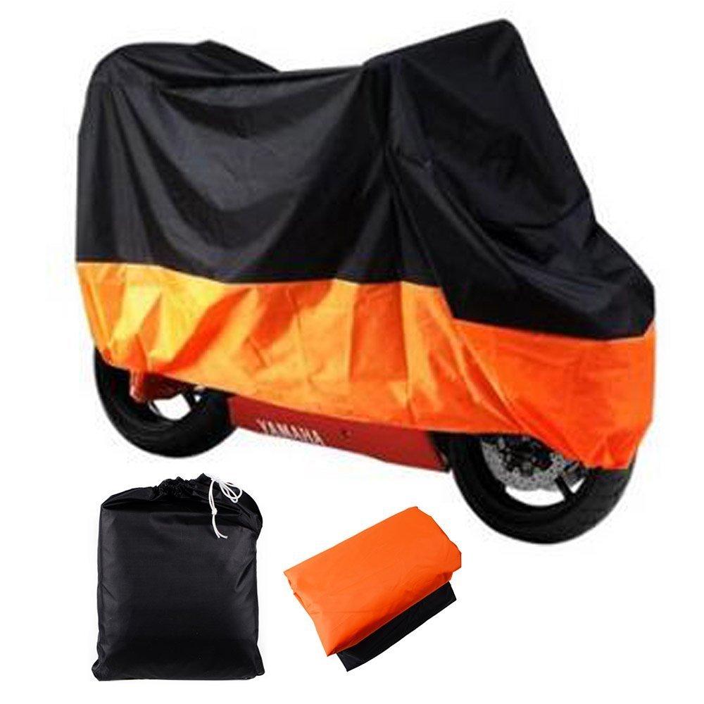 LeaningTech All Season Black&Orange Waterproof Sun Motorcycle Cover, Universally Fits to Harley Davison, Honda, Suzuki, Kawasaki, Yamaha,Street Glide Touring, Lockholes (XXX Large)