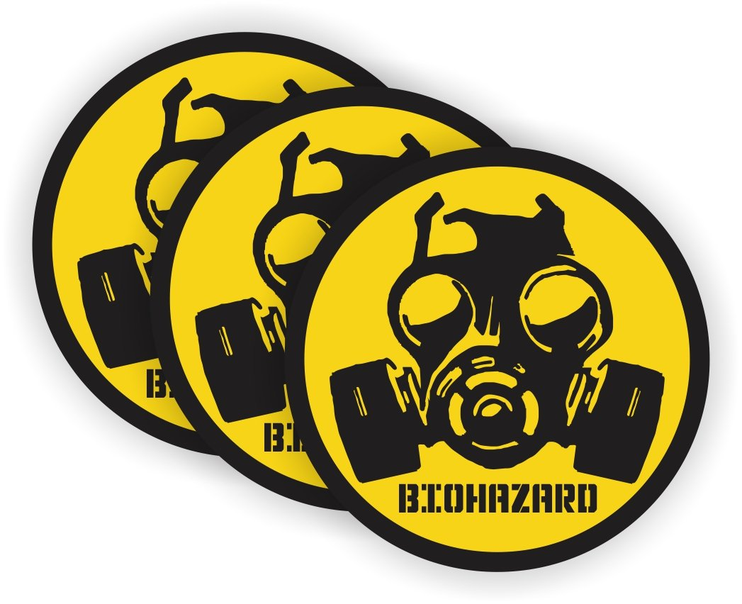 Biohazard Gas Mask Symbol Hard Hat Sticker Helmet Decal Label Lunch Tool Box
