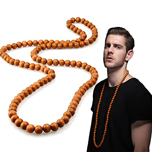 Evbea Long Beaded Necklace For Men Africa Wood Chain Bead Necklace 23 Inches