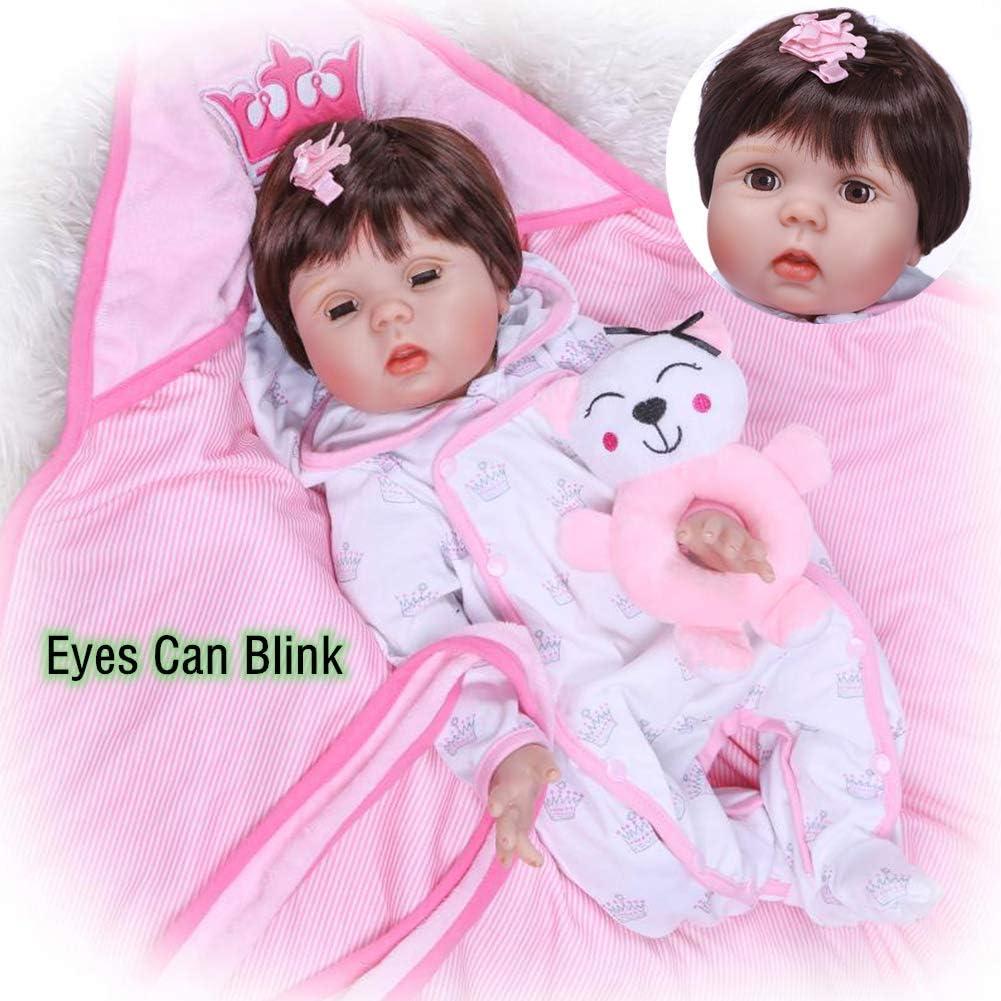 Binxing Doll 55cm リボーンベビードール 22インチ 美しいドレス ソフトシリコンヘッド+3/4 リム 重みのある布 ボディ 新生児 赤ちゃんの感触 目 キラキラ 可愛い 生きているような 子供のおもちゃ 誕生日に
