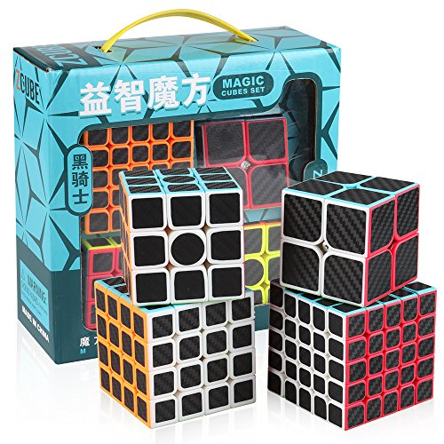 Carbon Collection Fibre - D-FantiX Zcube Carbon Fiber Speed Cube Set, 2x2 3x3 4x4 5x5 Speed Cube Bundle Pack 2by2 3by3 4by4 5by5 Puzzle Collection