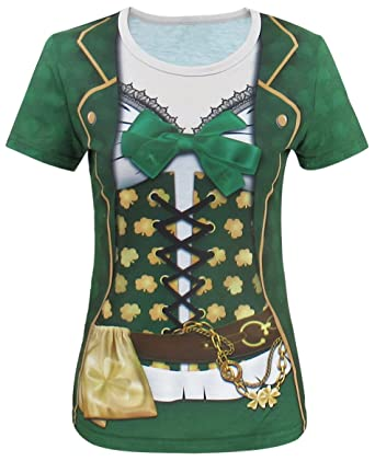 b466a3f2 Funny World ST. Patrick's Day Women's Leprechaun Costume Clover T-Shirts (M,