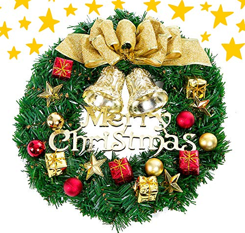 MeiLiMiYu Beautiful Christmas Wreath with Bow and Bells Christmas Wreath Hanger Winter Wonderland Wreath (14