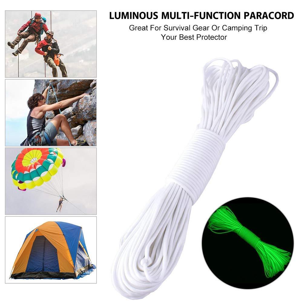 yuyte 100 Inch TM 9 Strand 550 Luminoso Brillante Paracord Parachute Cord