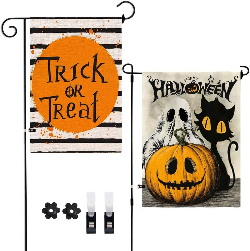Didida 2Pack Halloween Decoration Vertical Double-Sided Outdoor Garden Flags,Happy Halloween Fall Pumpkin Ghost Vintage Burlap Flag Decor with Clips Stoppers for Home Front Door Outside Yard Lawn Set1