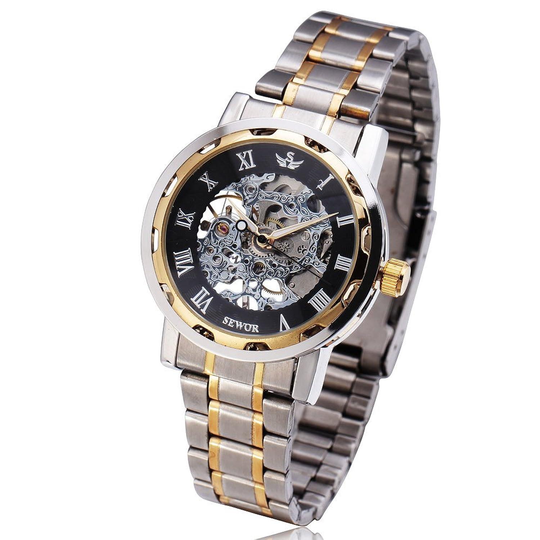 メンズラグジュアリークラシックスケルトンMechanicalステンレススチールWatch、ドレス自動手首hand-wind Watch White(Black) B0786KT5SMWhite(Black)
