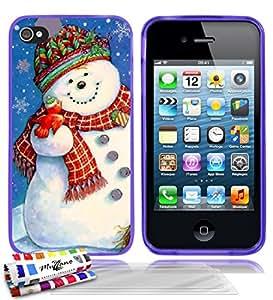 """Carcasa Flexible Ultra-Slim APPLE IPHONE 4 / IPHONE 4S de exclusivo motivo [Navidad 1] [Violeta] de MUZZANO  + 3 Pelliculas de Pantalla """"UltraClear"""" + ESTILETE y PAÑO MUZZANO REGALADOS - La Protección Antigolpes ULTIMA, ELEGANTE Y DURADERA para su APPLE IPHONE 4 / IPHONE 4S"""
