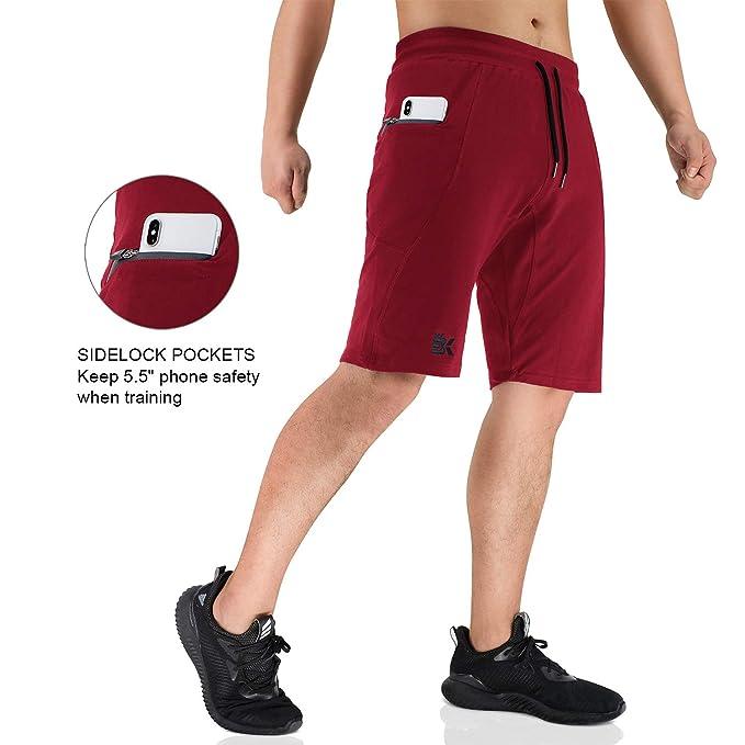 BROKIG Herren Sidelock Gym Shorts Bodybuilding Fitness Kurze Sport Hosen Jogging Hose Mit Rei/ßverschlusstaschen