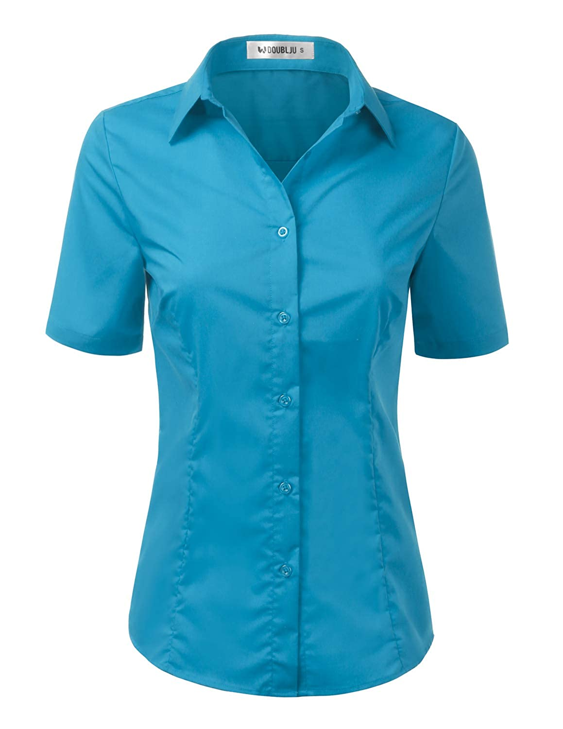 Cwtsts010_turquoise Doublju Womens Basic Simple Short Sleeve Button Down Shirt With Plus Size