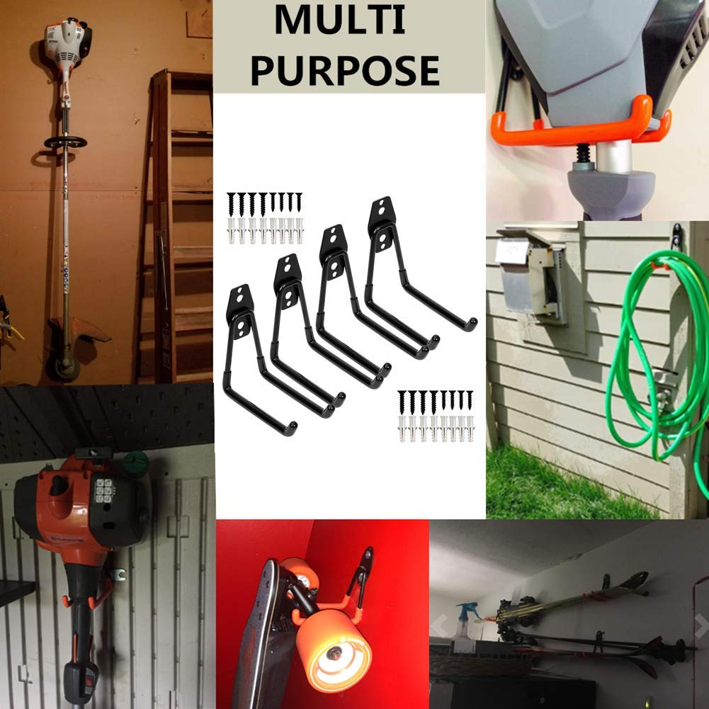 paquet de 4 crochets en U de 7,5 po, noir v/élo organisateur de porte-outil /à montage mural /étendu pour /échelles Crochets doubles pour utilitaire de garage robuste chaise