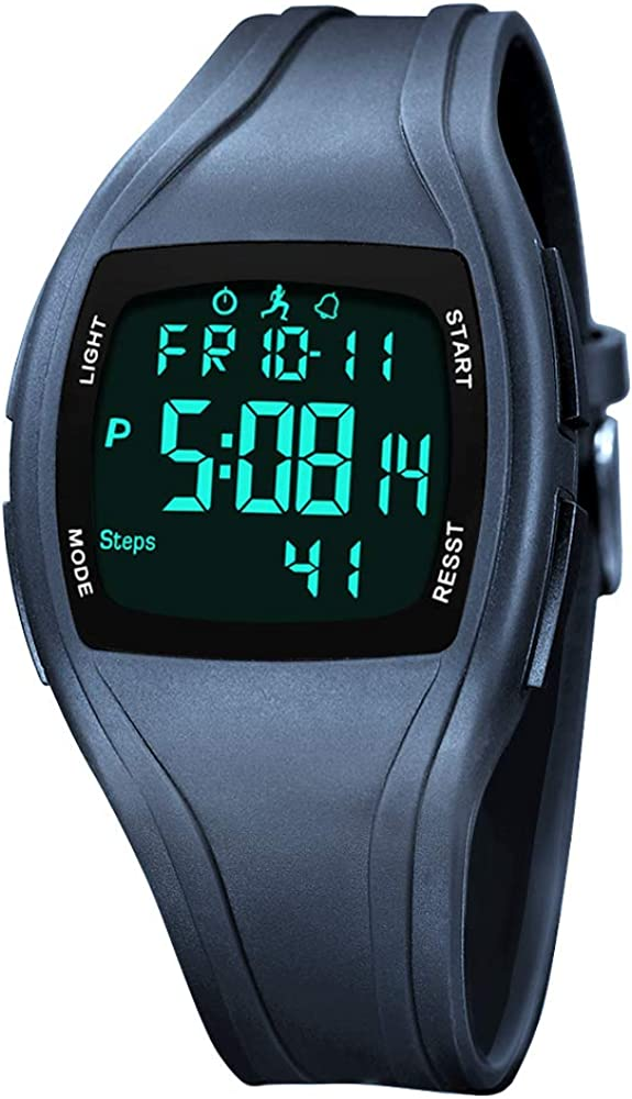 Sports Digital Watch, Easy-to-Read Digital Watch with Light, Waterproof Digital Watch Pedometer Watch Sport Watch with Date Time EL Backlit Stopwatch Calorie Counter