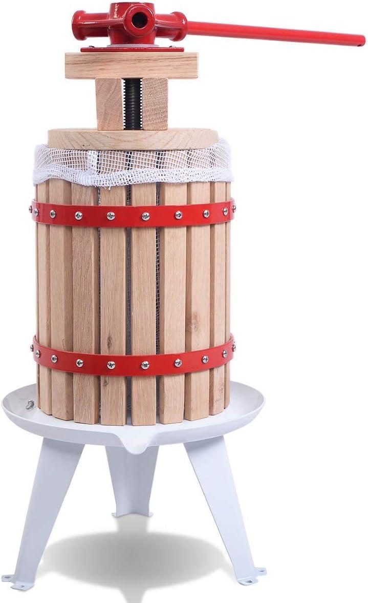 HAPPYGRILL Fruit Wine Press, 1.6 Gallon/6 Liter Solid Heavy Duty Wood Basket, Apple Grape crusher, Juice Cider Wine Press (Multi)