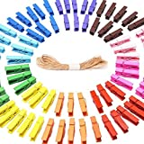 Qiorange Mini Colored Natural Wooden Clothespins Photo Paper Peg Pin Craft Clips