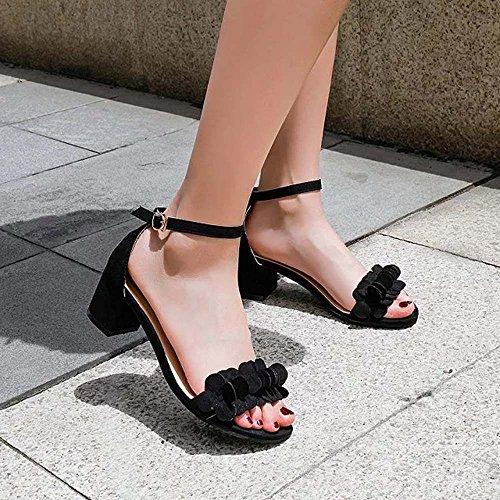 BUIMIN Zapatos Sandalias con Plataforma Mujer, Verano, de Tacón Alto con Flores, Elegante, de Moda, Talla 35-39 negro