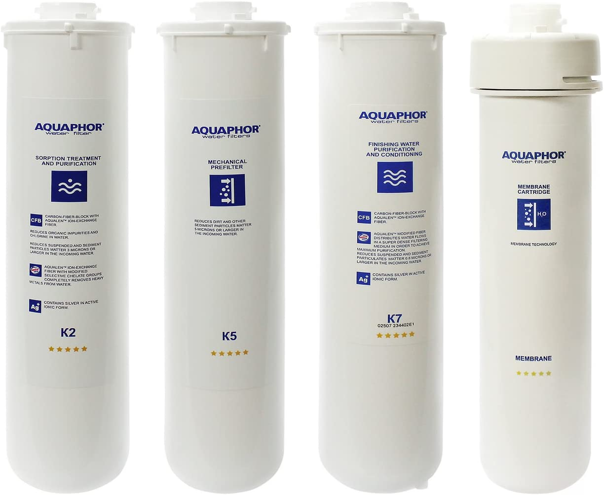 Full Set of 4 Replacement Water Filters Cartridges for Aquaphor RO-101 Reverse Osmosis System with Remineralizer K2 K5 K7 RO - 18-24 Month