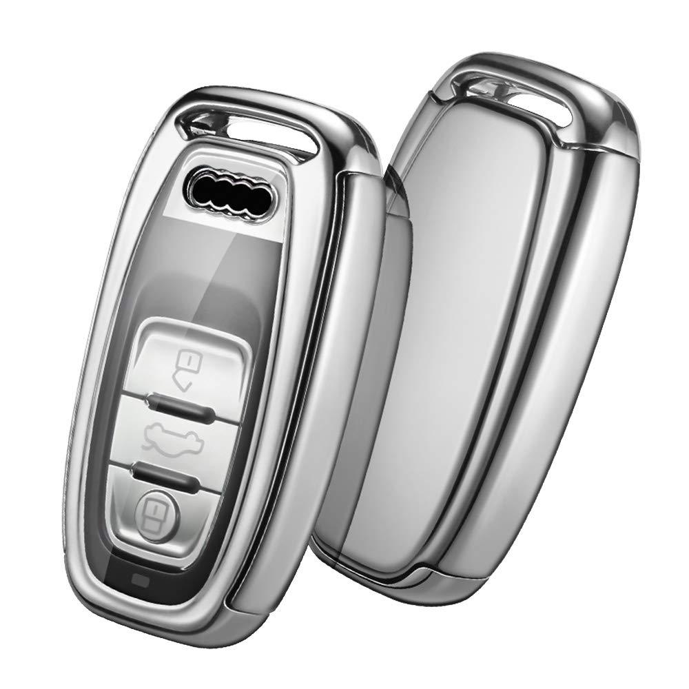 OATSBASF Fit to Audi Key Cover, Key Keyless Cover for Audi A4 A5 A6 A7 Q5 Q7 Q8 RS SQ 3-Buttons TPU Silicone Audi Key fob Cover Case (Silver)