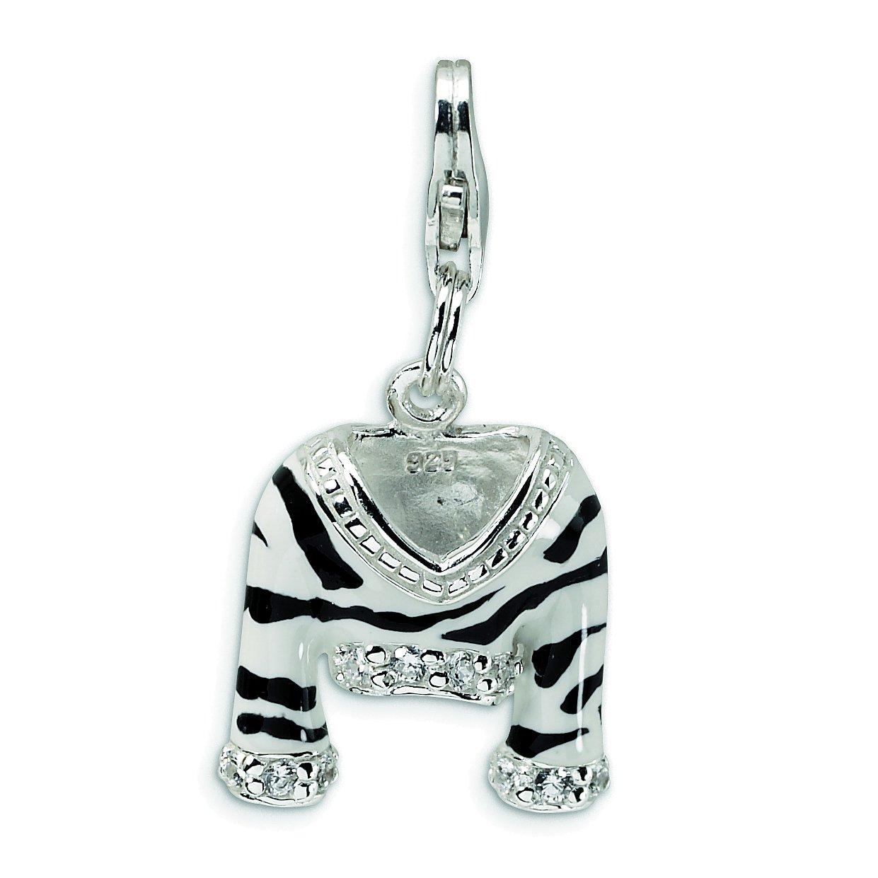 Amore La Vita Sterling Silver CZ Polished Enameled Zebra Jacket with Lobster Clasp Charm