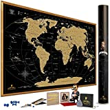 world map poster black and white - MyMap Gold Scratch Off World Map Wall Poster with US States, 35x25 inches, Includes Pins, Buttons and Scratcher, Glossy Finish, Black with Vibrant Colors